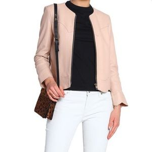 Sandro Paris Scalloped Leather Jacket SZ 1 -US 2/4